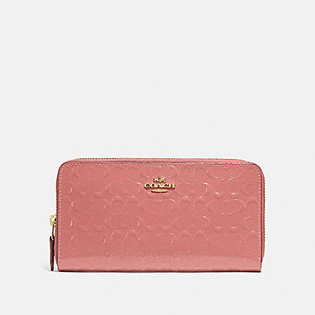 COACH ACCORDION ZIP WALLET IN SIGNATURE LEATHER - MELON/LIGHT GOLD - F54805