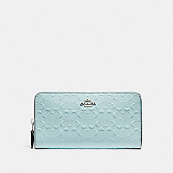 COACH ACCORDION ZIP WALLET IN SIGNATURE DEBOSSED PATENT LEATHER - SILVER/AQUA - F54805