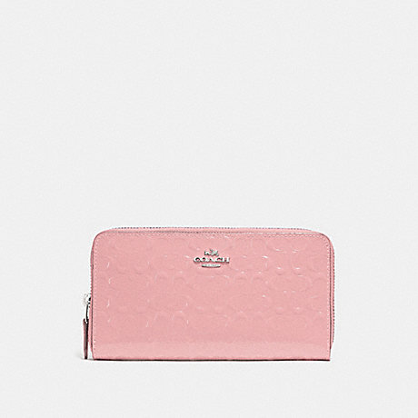 COACH ACCORDION ZIP WALLET IN SIGNATURE LEATHER - PETAL/SILVER - F54805