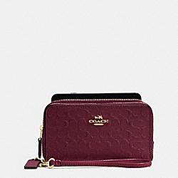 COACH DOUBLE ZIP PHONE WALLET IN SIGNATURE DEBOSSED PATENT LEATHER - IMITATION GOLD/OXBLOOD 1 - F54808