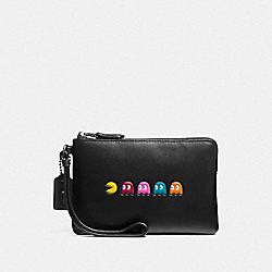 COACH PAC MAN CORNER ZIP WRISTLET IN CALF LEATHER - ANTIQUE NICKEL/BLACK - F54841