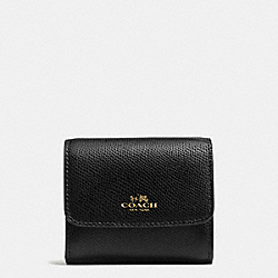 COACH ACCORDION CARD CASE IN CROSSGRAIN LEATHER - IMITATION GOLD/BLACK - F54843