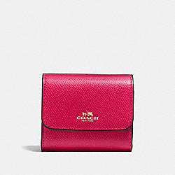 COACH ACCORDION CARD CASE IN CROSSGRAIN LEATHER - IMITATION GOLD/BRIGHT PINK - F54843