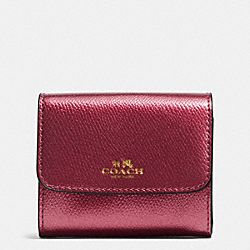 COACH ACCORDION CARD CASE IN CROSSGRAIN LEATHER - IMITATION GOLD/METALLIC CHERRY - F54843