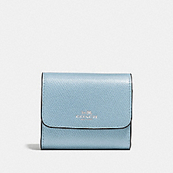 COACH ACCORDION CARD CASE IN CROSSGRAIN LEATHER - SILVER/CORNFLOWER - F54843