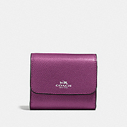 COACH ACCORDION CARD CASE IN CROSSGRAIN LEATHER - SILVER/MAUVE - F54843