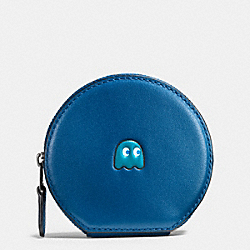 COACH PAC MAN ROUND COIN CASE IN CALF LEATHER - BLACK ANTIQUE NICKEL/DENIM - F54871