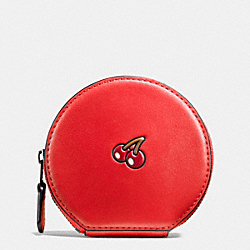 COACH PAC MAN ROUND COIN CASE IN CALF LEATHER - BLACK ANTIQUE/WATERMELON - F54871