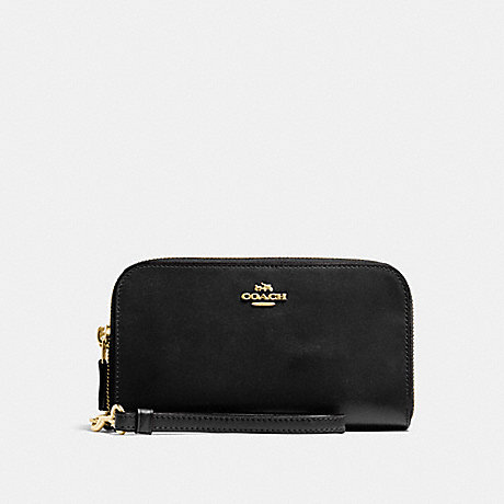COACH DOUBLE ACCORDION ZIP WALLET IN SMOOTH LEATHER - LIGHT GOLD/BLACK - f54872