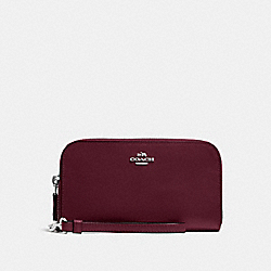 COACH DOUBLE ACCORDION ZIP WALLET IN SMOOTH LEATHER - SILVER/BURGUNDY - F54872