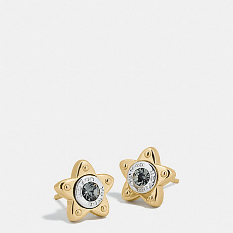 COACH FLORAL EARRINGS WITH STONE - GOLD/SILVER - f54884