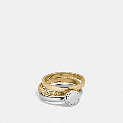 COACH DISC MIXED RING SET - GOLD/SILVER ROSEGOLD - COACH F54898