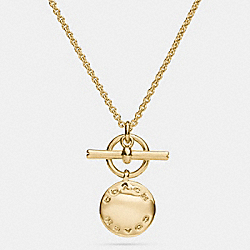 COACH COACH DISC NECKLACE - GOLD - F54899