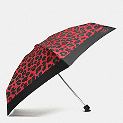 COACH LEOPARD PRINT MINI UMBRELLA - SILVER/WATERMELON - F54910