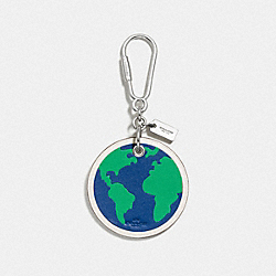 LEATHER GLOBE BAG CHARM - SILVER/DENIM - COACH F54912