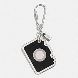 LEATHER CAMERA BAG CHARM - SILVER/BLACK - COACH F54913