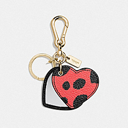 COACH LEATHER LEOPARD PRINT MIRROR HEART BAG CHARM - GOLD/SADDLE - F54919