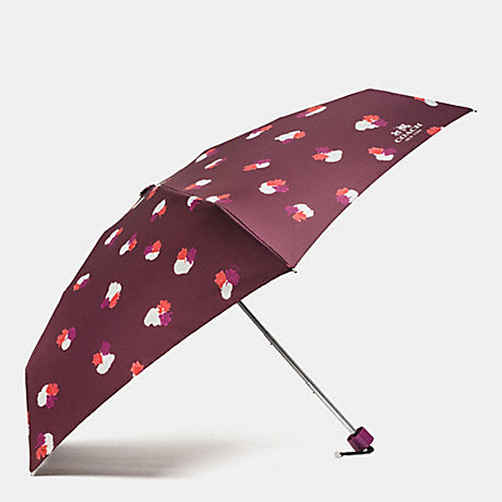COACH FIELD FLORA MINI UMBRELLA - SILVER/BURGUNDY - f54925