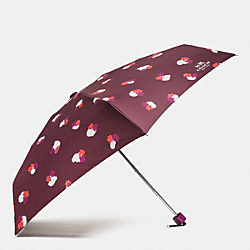 FIELD FLORA MINI UMBRELLA - SILVER/BURGUNDY - COACH F54925