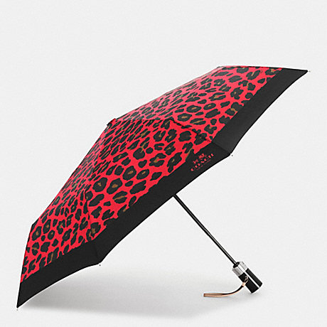 COACH LEOPARD PRINT UMBRELLA - SILVER/WATERMELON - f54928