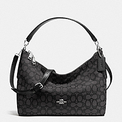 COACH EAST/WEST CELESTE CONVERTIBLE HOBO IN OUTLINE SIGNATURE - SILVER/BLACK SMOKE/BLACK - F54936