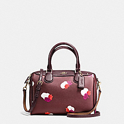 MINI BENNETT SATCHEL IN FIELD FLORA PRINT COATED CANVAS - f54943 - IMITATION GOLD/BURGUNDY MULTI