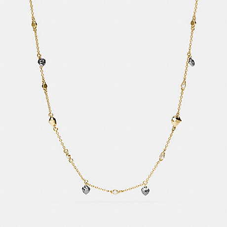 COACH f54954 LONG FACETED HEART NECKLACE GOLD/BLACK