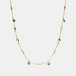 LONG FACETED HEART NECKLACE - GOLD/BLACK - COACH F54954