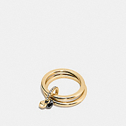 COACH FACETED HEART RING SET - GOLD/BLACK - F54957