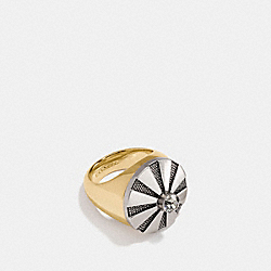 LARGE DAISY RIVET COCKTAIL RING - SILVER/GOLD - COACH F54975