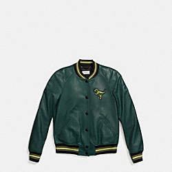 LEATHER REXY VARSITY JACKET - BOTTLE GREEN - COACH F55001