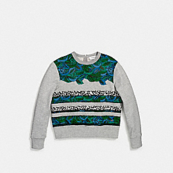 STRIPE COMBO CROPPED SWEATSHIRT - BLUE - COACH F55006