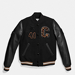 COACH VARSITY BASEBALL JACKET - BLACK/BLACK - F55062