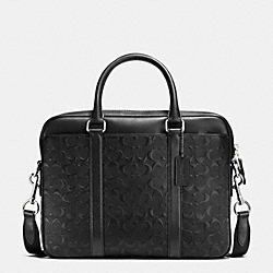 COACH PERRY COMPACT BRIEF IN SIGNATURE CROSSGRAIN LEATHER - BLACK - F55063