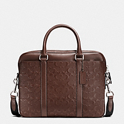 PERRY COMPACT BRIEF IN SIGNATURE CROSSGRAIN LEATHER - f55063 - MAHOGANY