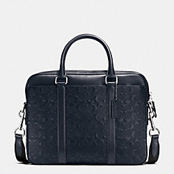 COACH PERRY COMPACT BRIEF IN SIGNATURE CROSSGRAIN LEATHER - MIDNIGHT - F55063