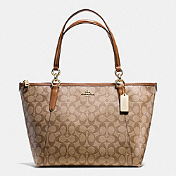 AVA TOTE IN SIGNATURE - f55064 - IMITATION GOLD/KHAKI/SADDLE