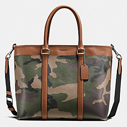 PERRY BUSINESS TOTE IN PRINTED COATED CANVAS - f55137 - GREEN CAMO