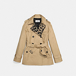 LEOPARD BLOCK SHORT TRENCH - CLASSIC KHAKI/NATURAL - COACH F55144