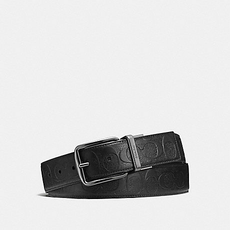 COACH f55157 WIDE HARNESS CUT-TO-SIZE REVERSIBLE SIGNATURE LEATHER BELT BLACK