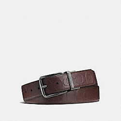 WIDE HARNESS CUT-TO-SIZE REVERSIBLE SIGNATURE LEATHER BELT - f55157 - MAHOGANY