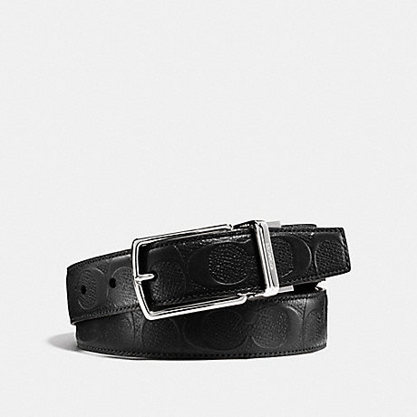 COACH MODERN HARNESS CUT-TO-SIZE REVERSIBLE SIGNATURE LEATHER BELT - BLACK - f55158