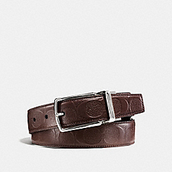 MODERN HARNESS CUT-TO-SIZE REVERSIBLE SIGNATURE LEATHER BELT - f55158 - MAHOGANY