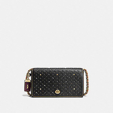 COACH DINKY WITH RIVETS - BLACK/OLD BRASS - f55166
