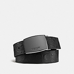 CLASSIC PLAQUE CUT-TO-SIZE REVERSIBLE BELT IN SIGNATURE LEATHER - BLACK/BLACK - COACH F55179