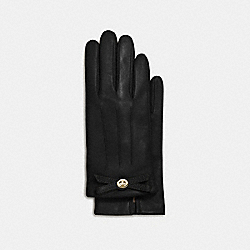 COACH TURNLOCK BOW LEATHER GLOVE - BLACK - F55189