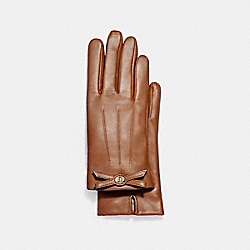 COACH TURNLOCK BOW LEATHER GLOVE - SADDLE - F55189