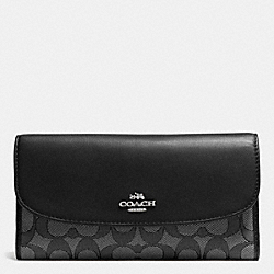 COACH CHECKBOOK WALLET IN OUTLINE SIGNATURE - SILVER/BLACK SMOKE/BLACK - F55202