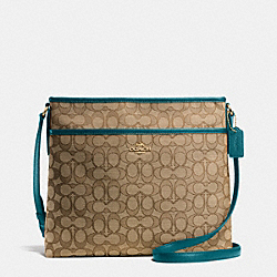 FILE BAG IN OUTLINE SIGNATURE - IMITATION KHAKI/ATLANTIC - COACH F55363