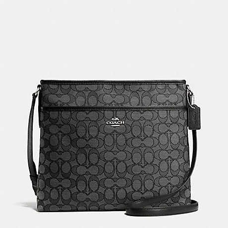 COACH FILE BAG IN OUTLINE SIGNATURE - SILVER/BLACK SMOKE/BLACK - f55363